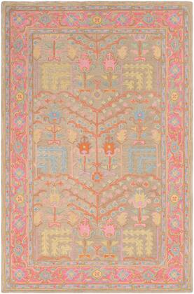Fire Work FIR-1002 2' x 3' Rectangle Traditional Rug in Tan  Bright Pink  Sky Blue  Bright Yellow  Grass Green  Burnt