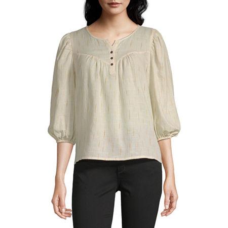 a.n.a Womens Henley Neck 3/4 Sleeve Peasant Top, Medium , White