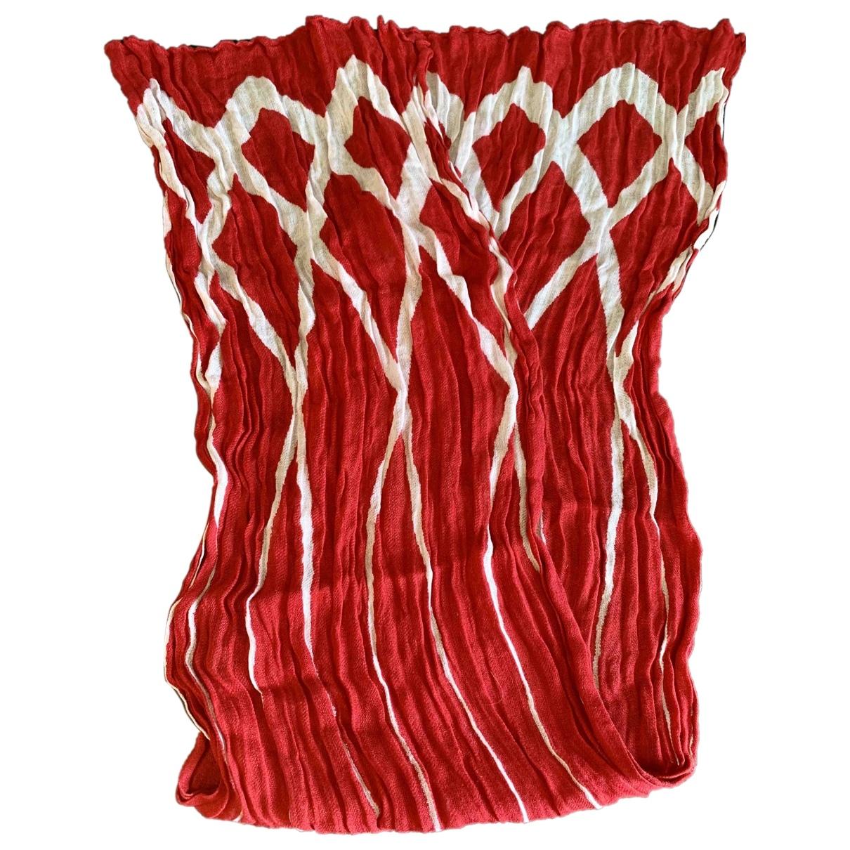 Armani Collezioni - Foulard   pour femme en lin - rouge