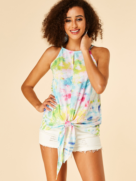 YOINS Multi Color Neon Tie-dye Round Neck Knotted Cami