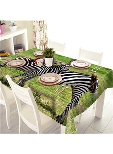Rectangle Polyester Two Cute Zebras Pattern 3D Tablecloth