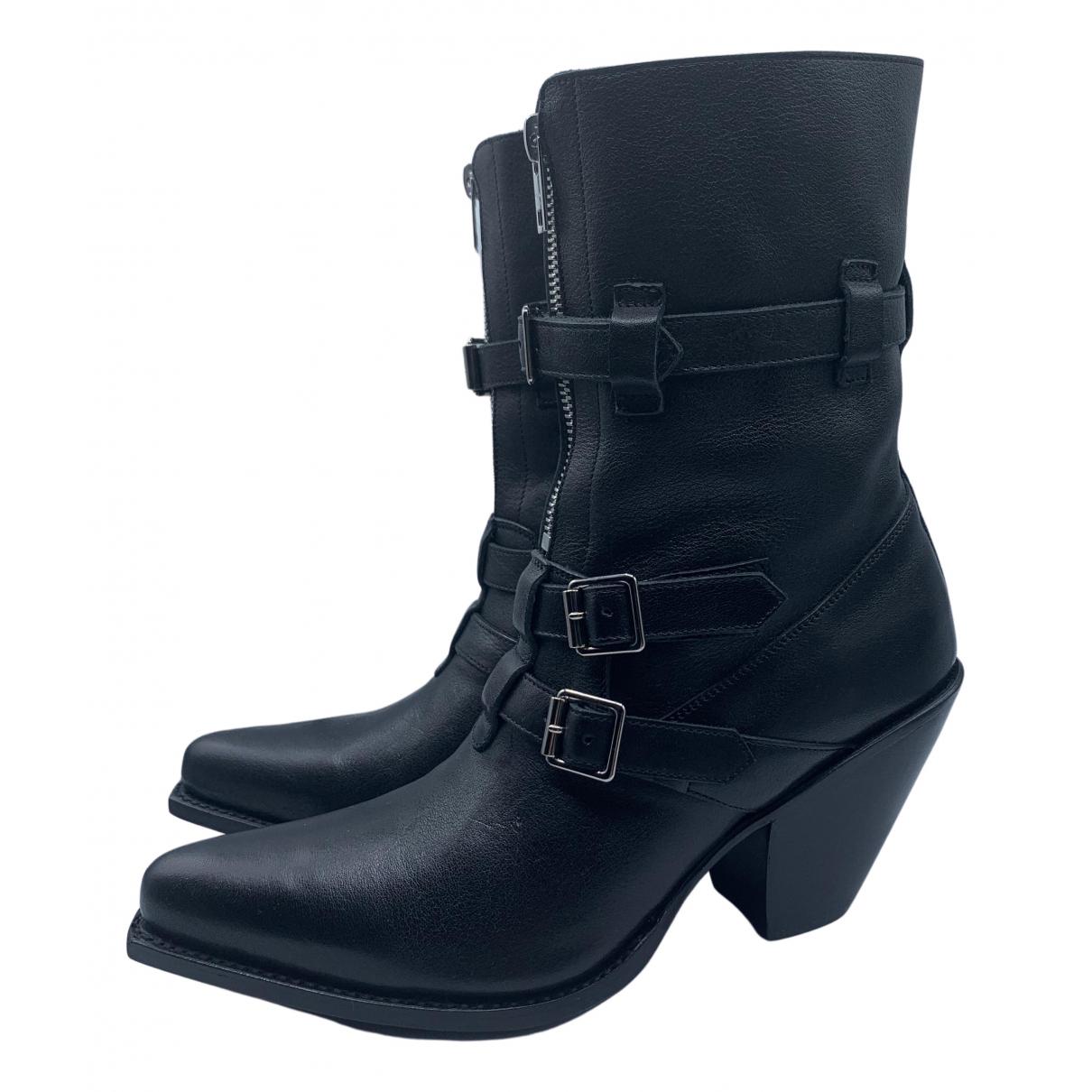 Celine Berlin Black Leather Ankle boots for Women 36 IT