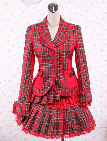 Milanoo Vestido de lolita de algodon rojo a cuadrado