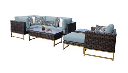 Barcelona BARCELONA-08n-GLD-SPA 8-Piece Patio Set 08n with 3 Corner Chairs  1 Club Chair  1 Armless Chair  1 Ottoman  1 End Table and 1 Coffee Table