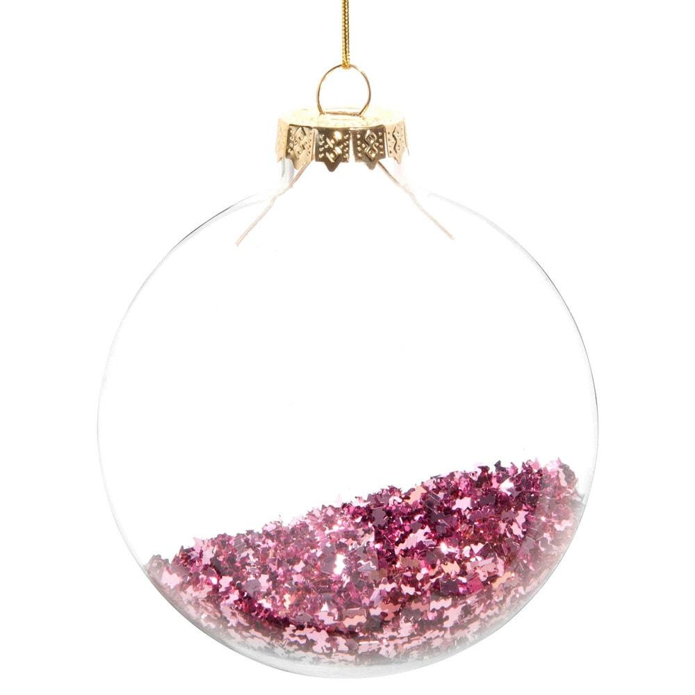 Weihnachtskugel aus Glas, rosafarben mit Glitzer