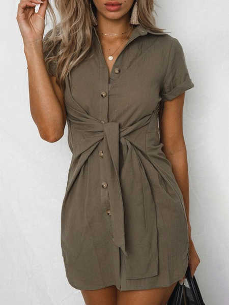 Milanoo Shirt Dresses Short Sleeves Cotton Knotted Midi Dress