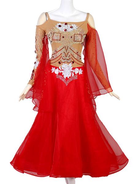 Milanoo Disfraz Halloween Trajes de baile de salon Gem Rhinestone con pedreria recortado Vestido de mujer rojo Ropa de baile Carnaval Halloween
