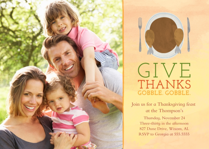 Thanksgiving Photo Cards 5x7 Folded Cards, Standard Cardstock 85lb, Card & Stationery -Gobble Gobble