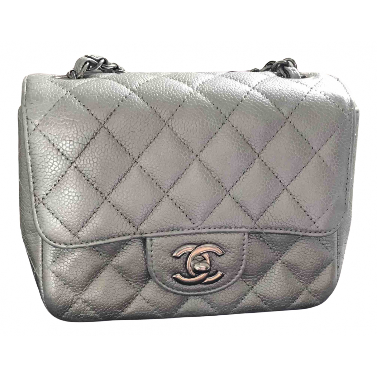 Chanel Timeless/Classique Handtasche in  Silber Leder