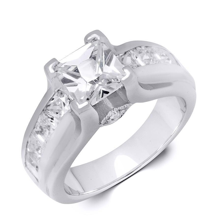 Sterling Silver Cubic Zirconia Princess Cut Bridal Fashion Ring (6.5)