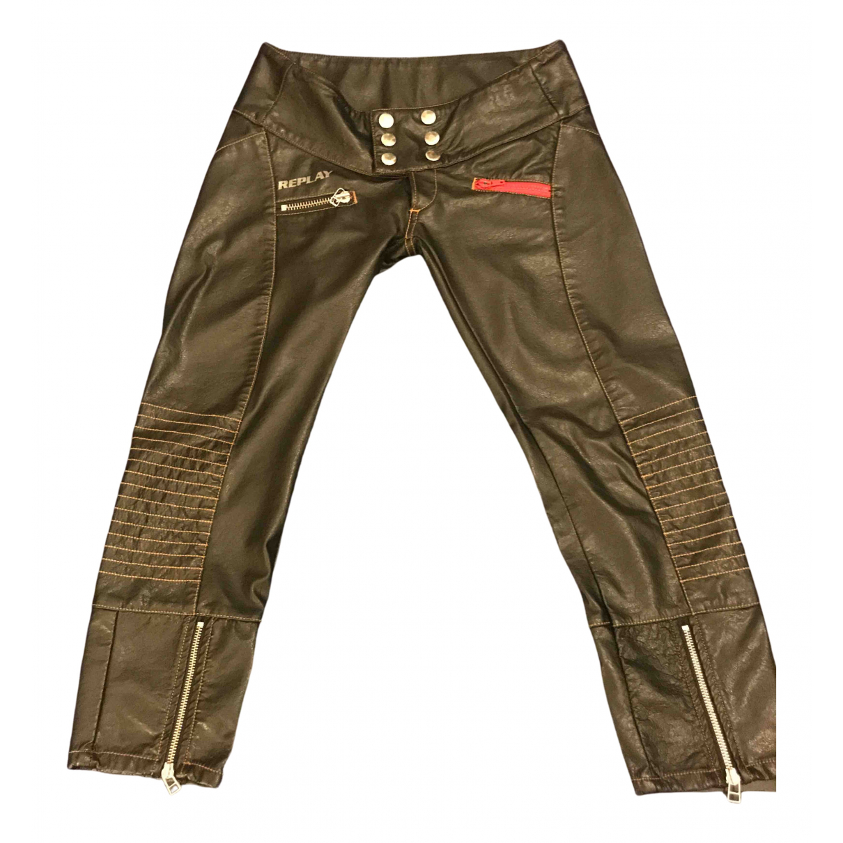 Pantalon pitillo de Cuero Replay