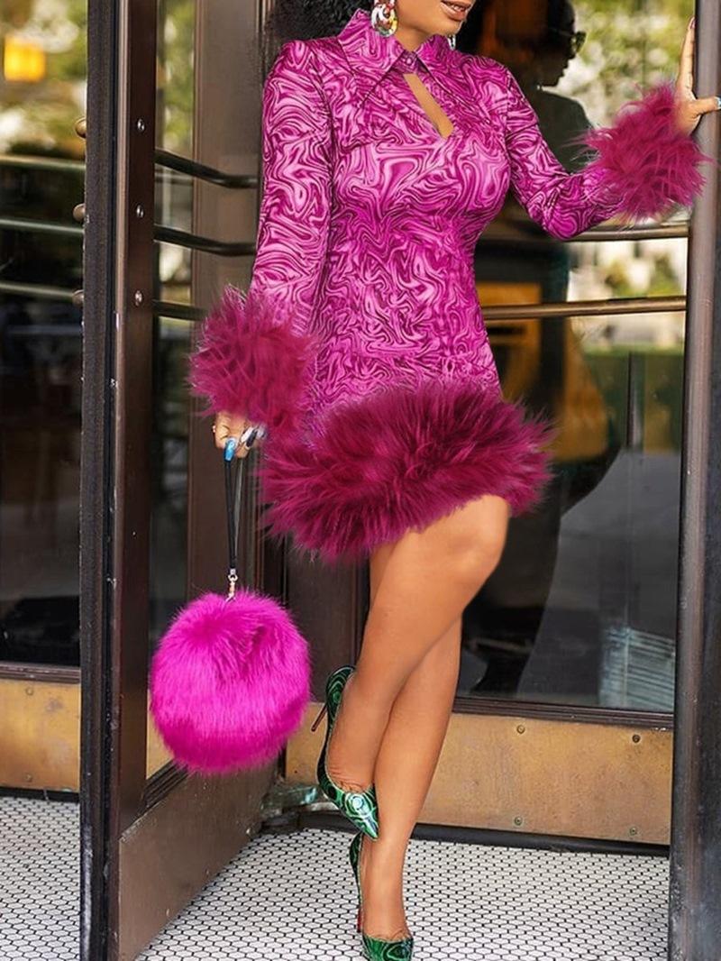 Ericdress Print Long Sleeve Above Knee High Waist Fashion Dress