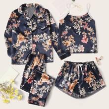 4pcs Floral Print Satin PJ Set
