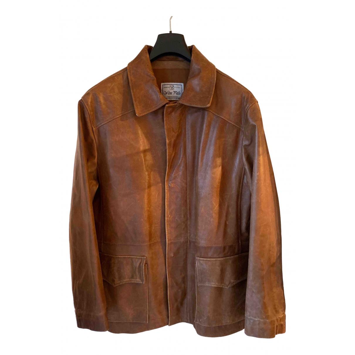 - Manteau   pour homme en cuir - marron