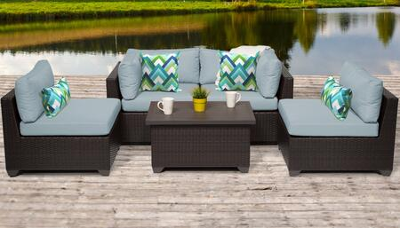 Belle Collection BELLE-05c-SPA 5-Piece Patio Set 05c with 2 Corner Chair   2 Armless Chair   1 Coffee Table - Wheat and Spa