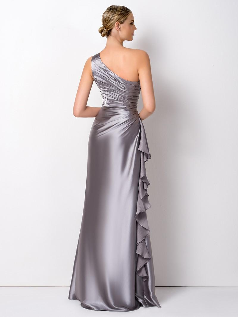 Ericdress Sheath One Shoulder Ruffles Long Bridesmaid Dress