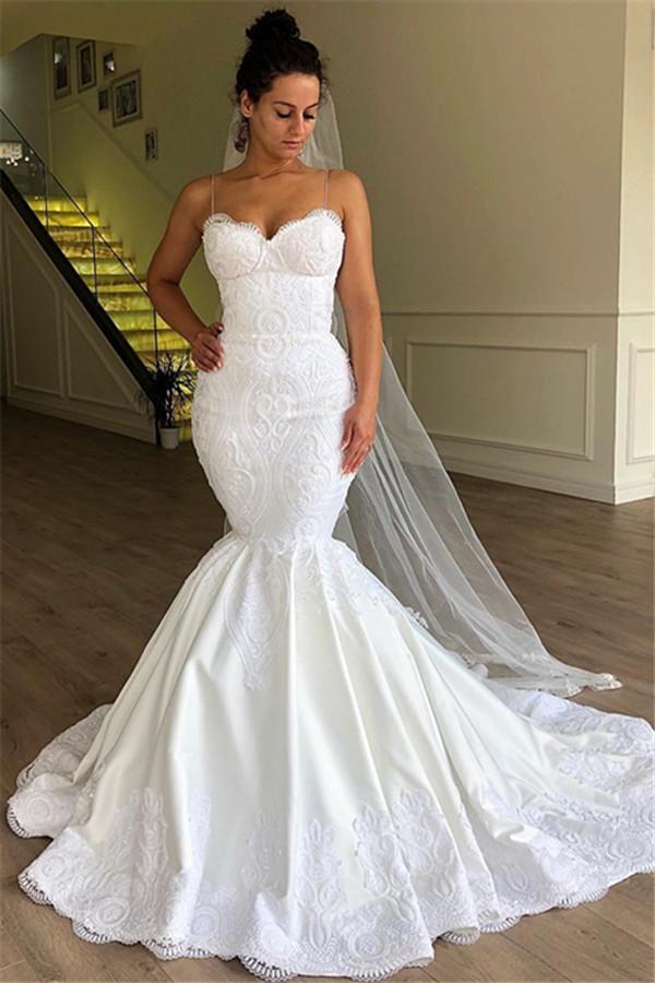 Gorgeous Mermaid Spaghetti Straps Sleeveless Lace Wedding Dresses