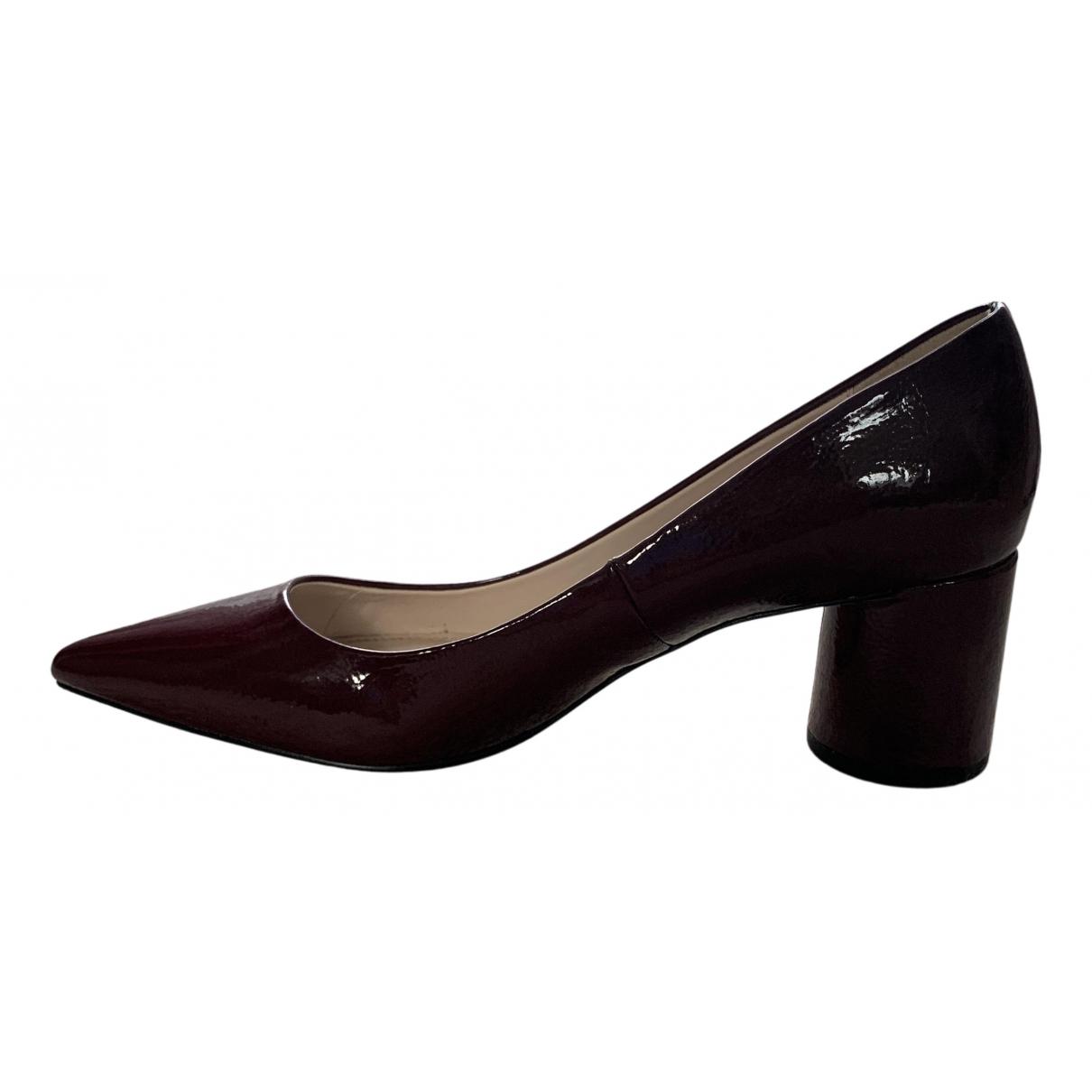 Zara - Escarpins   pour femme en cuir verni - bordeaux