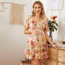 Maternity V-neck Lace Up Back Ruffle Hem Bustier Dress
