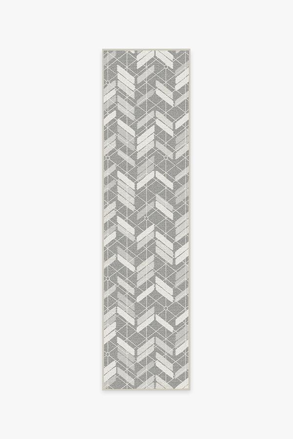 Washable Rug Cover | Outdoor Painted Chevron Grey Rug | Stain-Resistant | Ruggable | 2.5'x10'