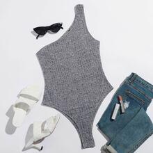 One Shoulder Rib-knit Bodysuit