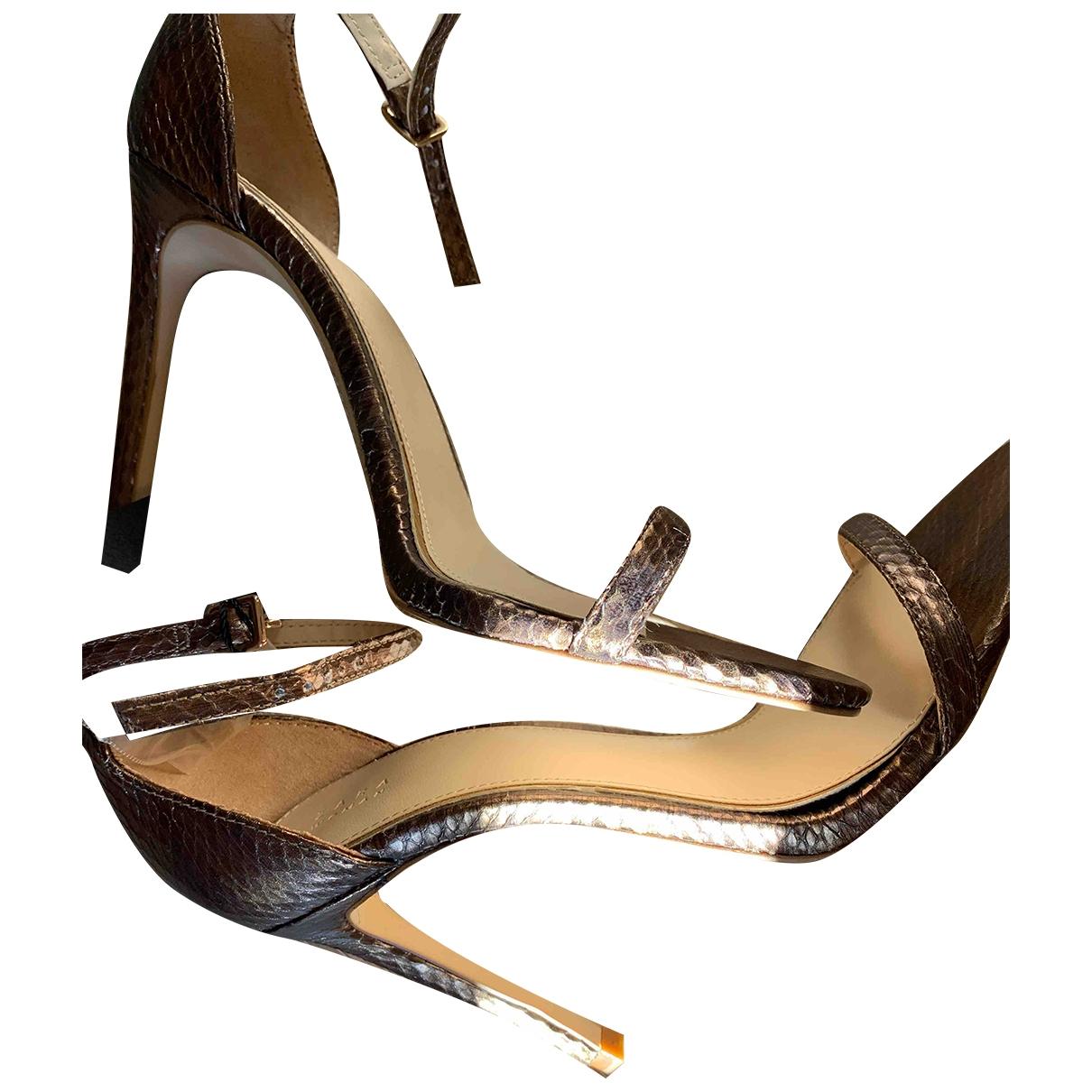 Zara - Sandales   pour femme en cuir - dore