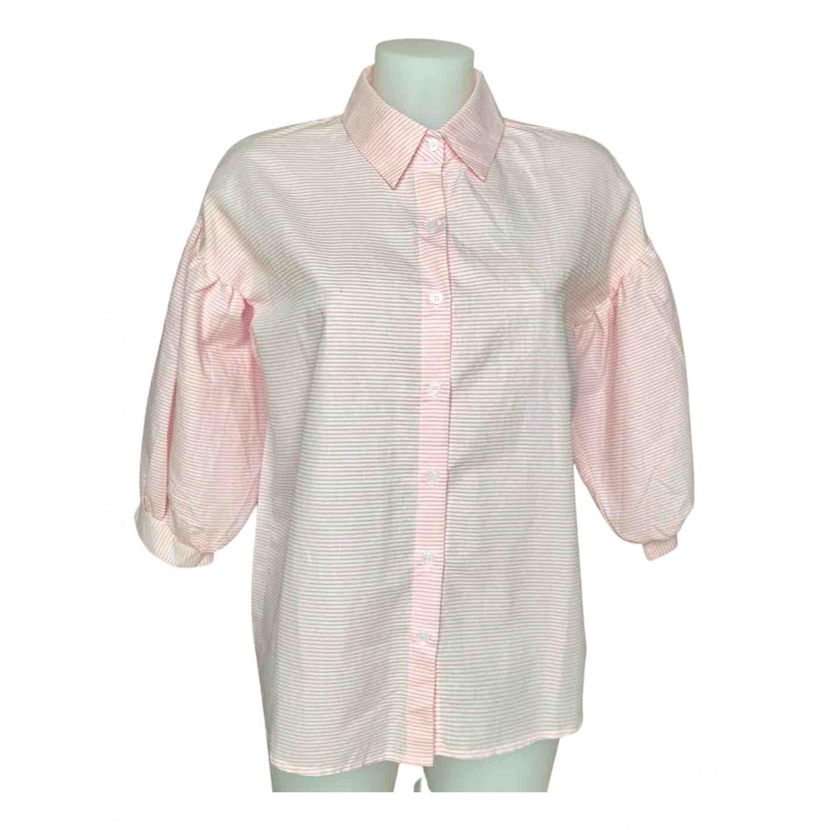 Non Signé / Unsigned Manche ballon Pink Cotton  top for Women S International