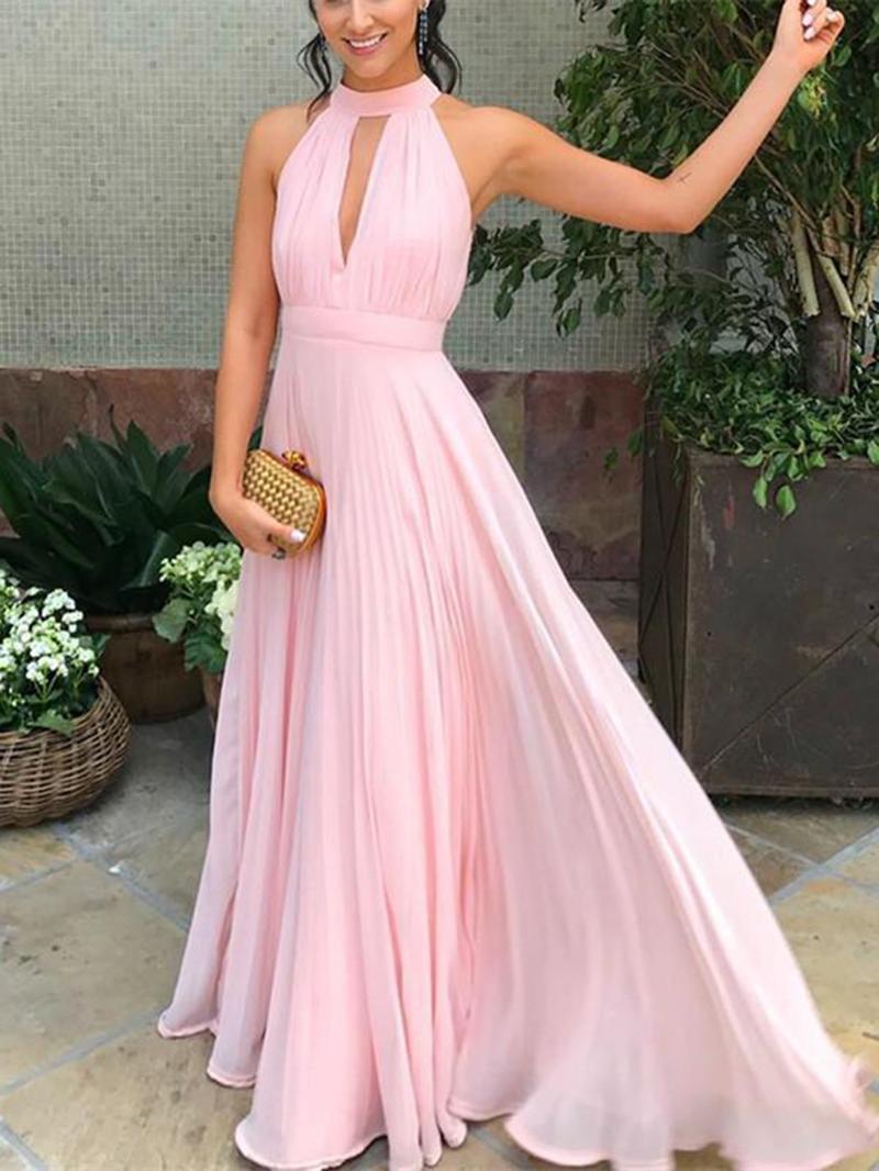 Ericdress Halter Hollow Pleats Long Bridesmaid Dress