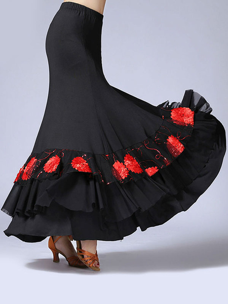 Milanoo Ballroom Dance Costumes Ruffle Flower Print Long Skirt Dance Dress
