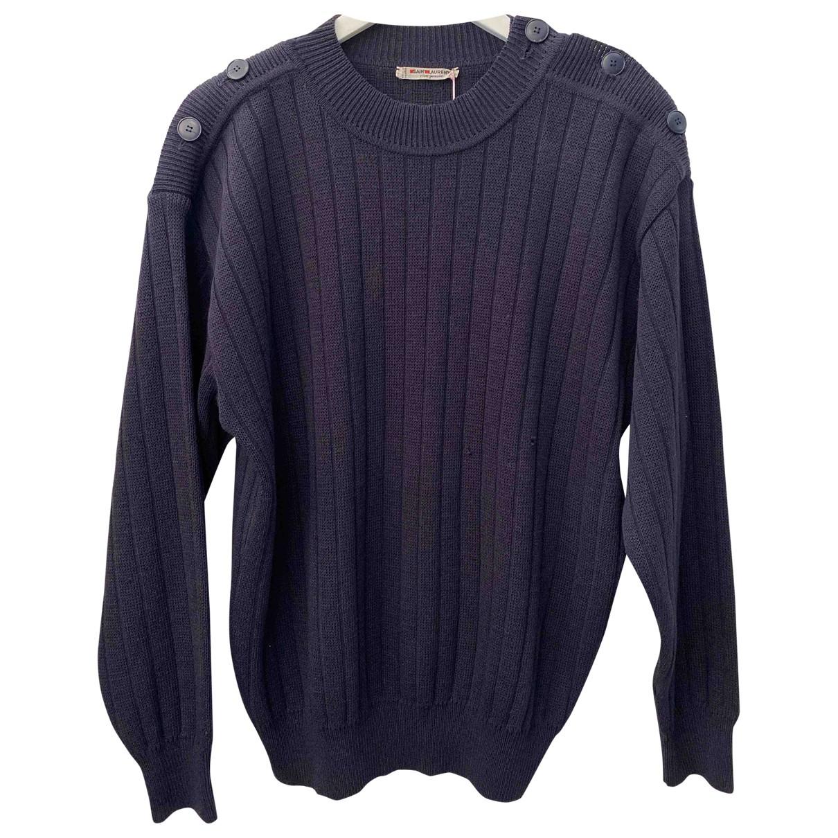 Saint Laurent \N Pullover.Westen.Sweatshirts  in  Marine Wolle