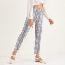 Hose mit elastischer Taille und Karo Muster