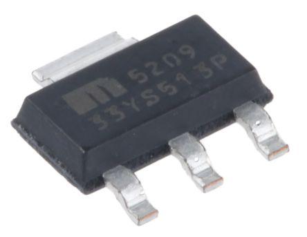 Microchip MIC5209-3.3YS, LDO Regulator, 500mA, 3.3 V, ±1% 3+Tab-Pin, SOT-223 (5)