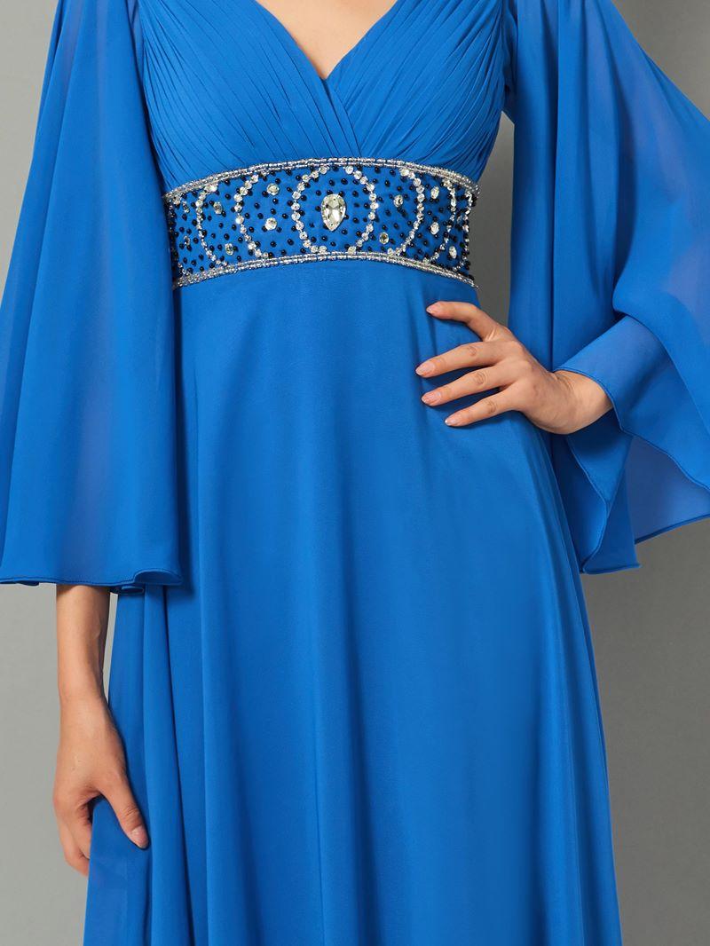 Ericdress A Line V Neck Half Sleeve Beaded Chiffon Evening Dress