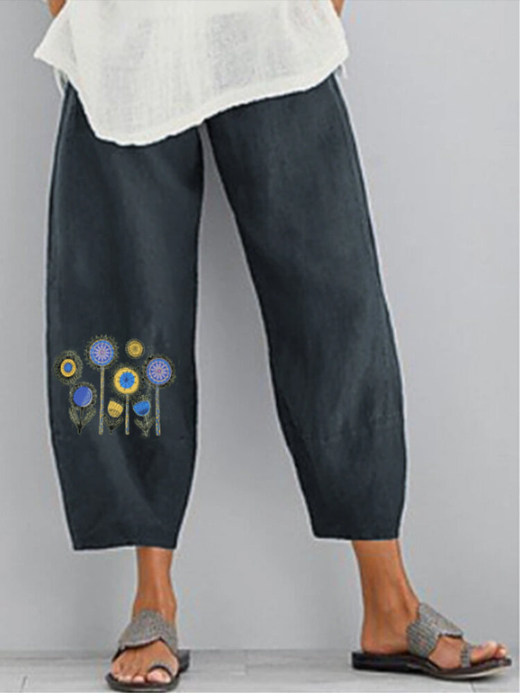 Flowers Print Elastic Waist Casual Plus Size Pants