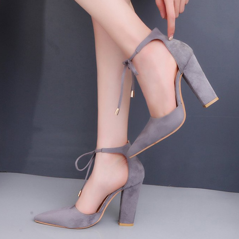 Ericdress Pointed Toe Lace-Up Chunky Heel Women's Pumps