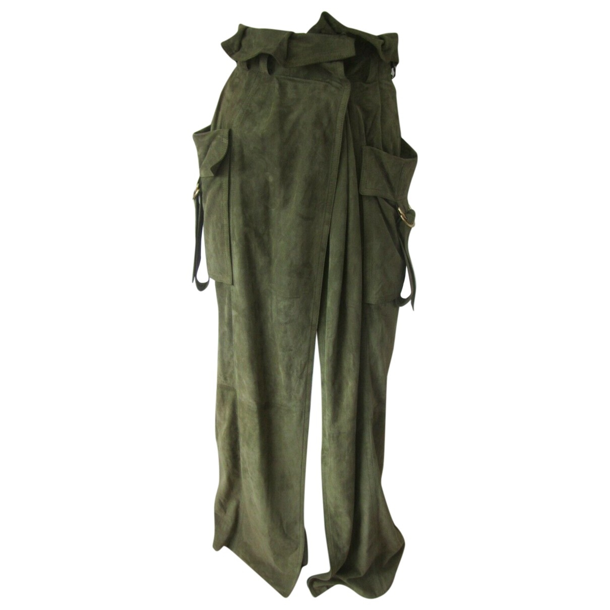 Balmain \N Green Suede skirt for Women 36 FR