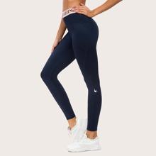 Queenieke leggings deportivos de cintura con cinta con letra