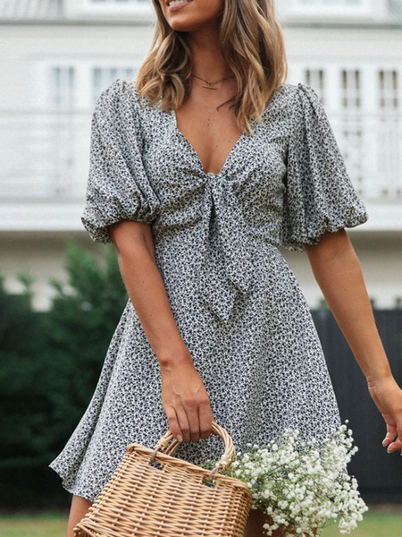 Milanoo Summer Dresses V-Neck Printed Black Short Sleeves Polyester Sundress