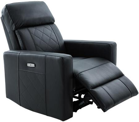 Vienna Collection 2149-BK Power Recliner Chair with USB with USB Port and Power Recliner Button in Black