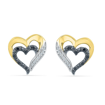 1/10 CT. T.W. Genuine Black Diamond 10K Gold Over Silver 11.5mm Stud Earrings, One Size , No Color Family