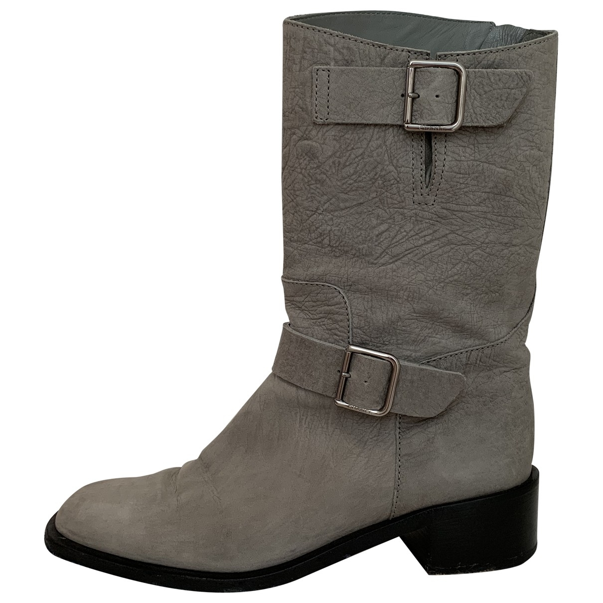 Chanel \N Grey Leather Boots for Women 39.5 EU