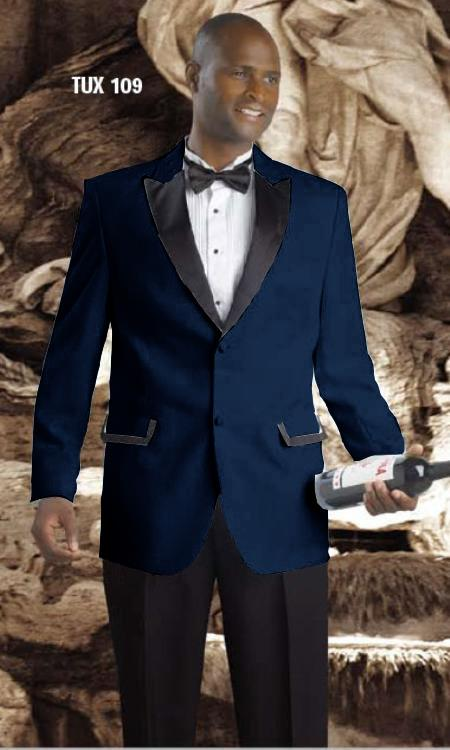 2 Button Tuxedos Peak Lapel with Black Satin Collar Dark Navy Blue