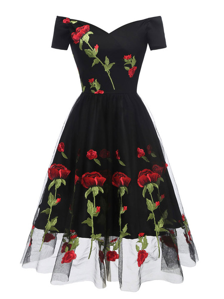Milanoo Black Vintage Dress 1950s Off The Shoulder Flower Embroidered Tulle Homecoming Dress