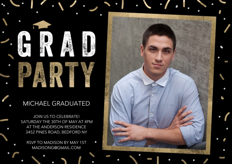 Graduation Invitations 5x7 Cards, Premium Cardstock 120lb, Card & Stationery -Grad Party Gold Frame by Tumbalina