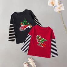 2 piezas camiseta con estampado de rayas y Navidad