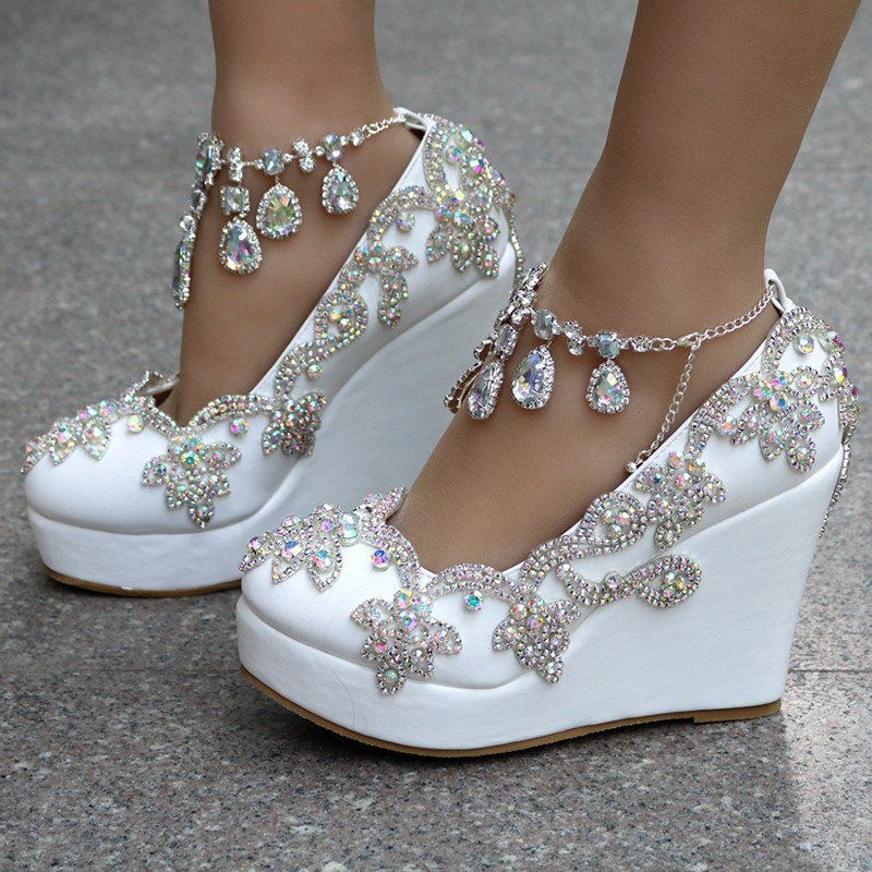 Ericdress Rhinestone Chain Platform Wedge Heel Prom Shoes