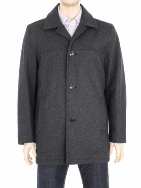Mens Charcoal Gray 4 Button Closure Solid Wool Blend Coat Jacket