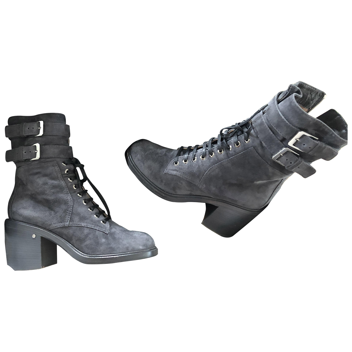 Laurence Dacade \N Grey Suede Ankle boots for Women 38 EU