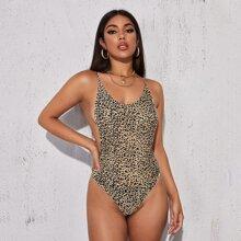 Body slip de leopardo de espalda abierta