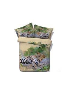 3D Vigorous Leopard Printed Cotton 4-Piece Bedding Sets/Duvet Covers